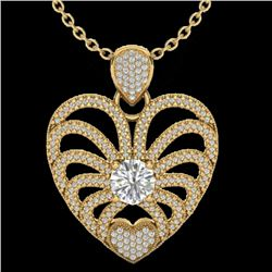 3 CTW Micro Pave VS/SI Diamond Certified Heart Necklace 14K Yellow Gold - REF-739H2W - 20506