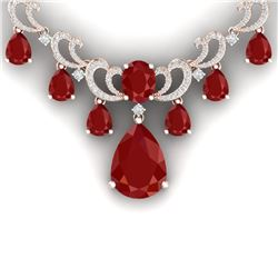 34.91 CTW Royalty Ruby & VS Diamond Necklace 18K Rose Gold - REF-981M8F - 38659