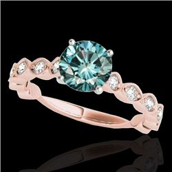 1.75 CTW SI Certified Fancy Blue Diamond Solitaire Ring 10K Rose Gold - REF-200R2K - 34895