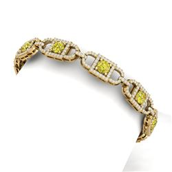 9 CTW Si/I Fancy Yellow And White Diamond Bracelet 18K Yellow Gold - REF-750R2K - 40147
