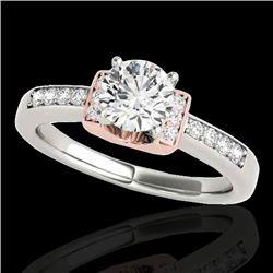 1.11 CTW H-SI/I Certified Diamond Solitaire Ring Two Tone 10K White & Rose Gold - REF-156X4T - 34829