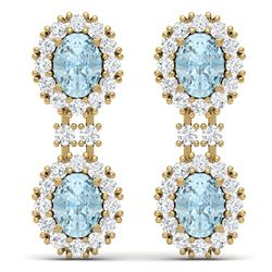 8.8 CTW Royalty Sky Topaz & VS Diamond Earrings 18K Yellow Gold - REF-180N2Y - 38822