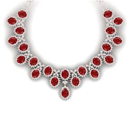 81 CTW Royalty Designer Ruby & VS Diamond Necklace 18K Rose Gold - REF-1618K2R - 38623