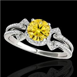 1.36 CTW Certified Si Fancy Intense Yellow Diamond Solitaire Ring 10K White Gold - REF-169F3M - 3532