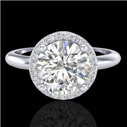 2 CTW Micro Pave VS/SI Diamond Certified Ring Designer Halo 18K White Gold - REF-948X2T - 23209