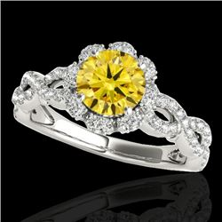 1.69 CTW Certified Si Fancy Intense Yellow Diamond Solitaire Halo Ring 10K White Gold - REF-188R2K -
