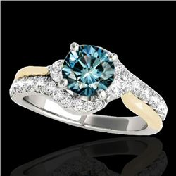 1.6 CTW SI Certified Fancy Blue Diamond Bypass Solitaire Ring 2 Tone 10K White & Yellow Gold - REF-1