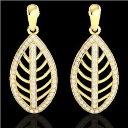 2 CTW Micro Pave VS/SI Diamond Certified Designer Earrings 18K Yellow Gold - REF-170X2T - 21475