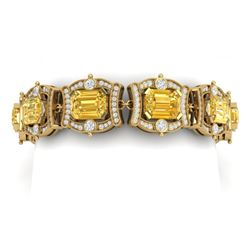 37.15 CTW Royalty Canary Citrine & VS Diamond Bracelet 18K Yellow Gold - REF-654H5W - 38789