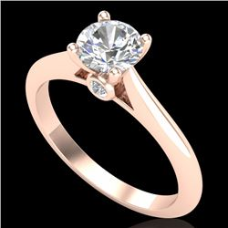 0.83 CTW VS/SI Diamond Solitaire Art Deco Ring 18K Rose Gold - REF-200X2T - 37284