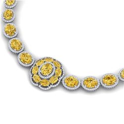 74.56 CTW Royalty Canary Citrine & VS Diamond Necklace 18K White Gold - REF-1045X5T - 39234