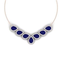 34.72 CTW Royalty Sapphire & VS Diamond Necklace 18K Rose Gold - REF-618N2Y - 38833