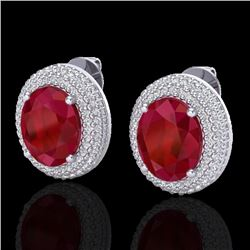 9.20 CTW Ruby & Micro Pave VS/SI Diamond Certified Earrings 18K White Gold - REF-190T2X - 20232