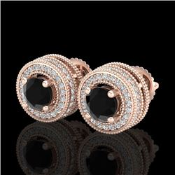 2.09 CTW Fancy Black Diamond Solitaire Art Deco Stud Earrings 18K Rose Gold - REF-154R5K - 38011
