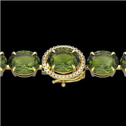 65 CTW Green Tourmaline & Micro VS/SI Diamond Halo Bracelet 14K Yellow Gold - REF-593W8H - 22264
