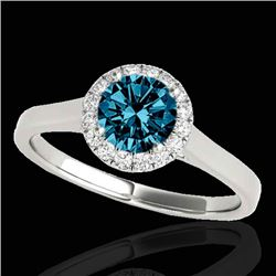1.11 CTW SI Certified Fancy Blue Diamond Solitaire Halo Ring 10K White Gold - REF-167T3X - 33819