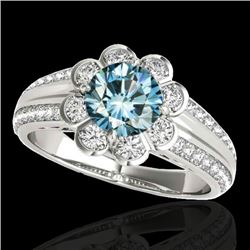 1.5 CTW SI Certified Fancy Blue Diamond Solitaire Halo Ring 10K White Gold - REF-171H6W - 34473