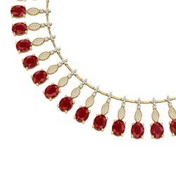 65.62 CTW Royalty Ruby & VS Diamond Necklace 18K Yellow Gold - REF-1254Y5N - 39125
