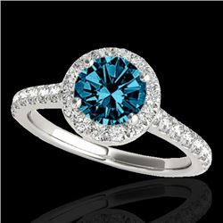1.7 CTW SI Certified Fancy Blue Diamond Solitaire Halo Ring 10K White Gold - REF-209W3H - 33594