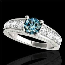 3.05 CTW SI Certified Fancy Blue Diamond Solitaire Ring 10K White Gold - REF-343M6F - 35521
