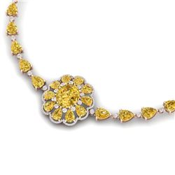 72.38 CTW Royalty Canary Citrine & VS Diamond Necklace 18K Rose Gold - REF-472F8M - 39181