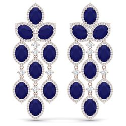 35.15 CTW Royalty Sapphire & VS Diamond Earrings 18K Rose Gold - REF-536X4T - 38929