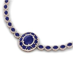 43.54 CTW Royalty Sapphire & VS Diamond Necklace 18K Rose Gold - REF-927F3M - 39280