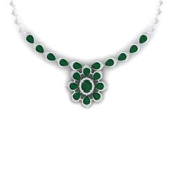 38.46 CTW Royalty Emerald & VS Diamond Necklace 18K White Gold - REF-654X5T - 39030