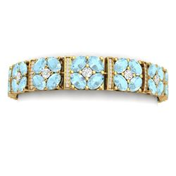 36.08 CTW Royalty Sky Topaz & VS Diamond Bracelet 18K Yellow Gold - REF-536T4X - 39026