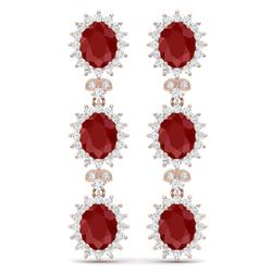 24.52 CTW Royalty Designer Ruby & VS Diamond Earrings 18K Rose Gold - REF-436R4K - 38641