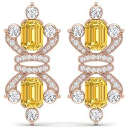 25.35 CTW Royalty Canary Citrine & VS Diamond Earrings 18K Rose Gold - REF-490R9K - 38773