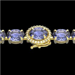 32 CTW Tanzanite & VS/SI Diamond Tennis Micro Halo Bracelet 14K Yellow Gold - REF-328N9Y - 23442