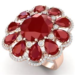 20.63 CTW Royalty Designer Ruby & VS Diamond Ring 18K Rose Gold - REF-327N3Y - 39142