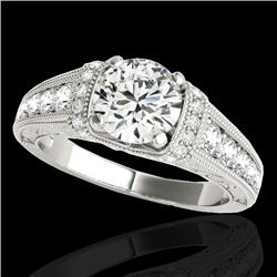 1.75 CTW H-SI/I Certified Diamond Solitaire Antique Ring 10K White Gold - REF-218K2R - 34783