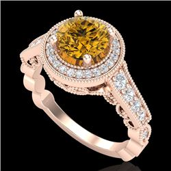 1.91 CTW Intense Fancy Yellow Diamond Engagement Art Deco Ring 18K Rose Gold - REF-263Y6N - 37687