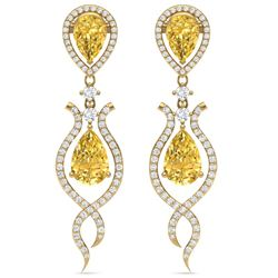 14.09 CTW Royalty Canary Citrine & VS Diamond Earrings 18K Yellow Gold - REF-281H8W - 39524