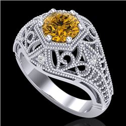 1.07 CTW Intense Fancy Yellow Diamond Engagement Art Deco Ring 18K White Gold - REF-218X2T - 37553