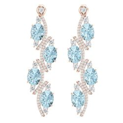 15.72 CTW Royalty Sky Topaz & VS Diamond Earrings 18K Rose Gold - REF-240N9Y - 38989