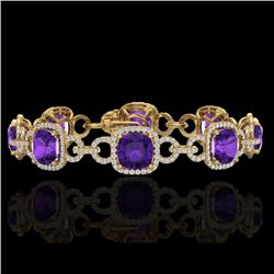 30 CTW Amethyst & Micro VS/SI Diamond Certified Bracelet 14K Yellow Gold - REF-368X9T - 23017