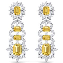 27.75 CTW Royalty Canary Citrine & VS Diamond Earrings 18K White Gold - REF-518K2R - 39417