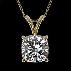 1 CTW Certified VS/SI Quality Cushion Cut Diamond Necklace 10K Yellow Gold - REF-267T8X - 33200