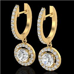 1.75 CTW Micro Pave Halo VS/SI Diamond Certified Earrings 18K Yellow Gold - REF-219F8M - 23255