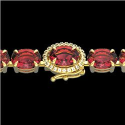 27 CTW Pink Tourmaline & VS/SI Diamond Tennis Micro Halo Bracelet 14K Yellow Gold - REF-292R5K - 234