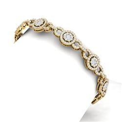 5 CTW Certified SI/I Diamond Halo Bracelet 18K Yellow Gold - REF-365N5Y - 40078