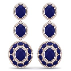 32.84 CTW Royalty Sapphire & VS Diamond Earrings 18K Rose Gold - REF-436W4H - 39262