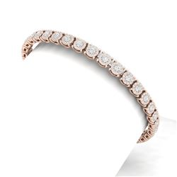5 CTW Certified SI/I Diamond Halo Bracelet 18K Rose Gold - REF-327F3M - 40167