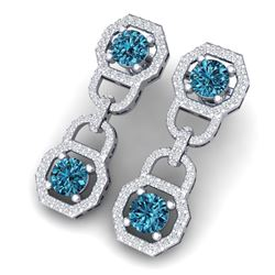 4 CTW Si/I Fancy Blue And White Diamond Earrings 18K White Gold - REF-271H4W - 40133