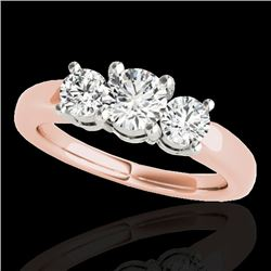 2 CTW H-SI/I Certified Diamond 3 Stone Solitaire Set 10K Rose Gold - REF-290M9F - 35440