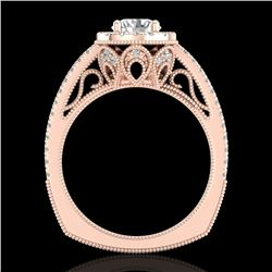 1.55 CTW VS/SI Diamond Solitaire Art Deco Ring 18K Rose Gold - REF-263X6T - 37116