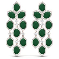 35.15 CTW Royalty Emerald & VS Diamond Earrings 18K Rose Gold - REF-590W9H - 38923